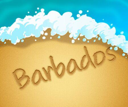 holiday vacation: Barbados Holiday Showing Caribbean Vacation 3d Illustration