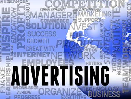 adverts: Advertising Word Showing Promote Advertisments And Ads Stock Photo
