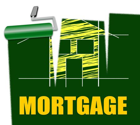 borrowing: House Mortgage Representing Housing Loan And Credit