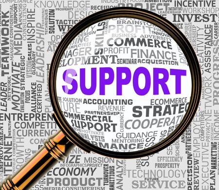 helpdesk: Support Magnifier Indicating Assistance Helpdesk 3d Rendering