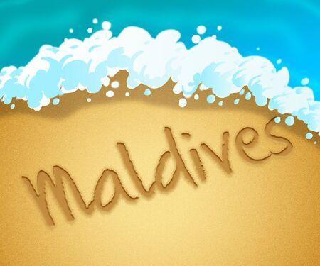 Maldives Holiday Showing Tropical Vacation 3d Illustration Stock Photo