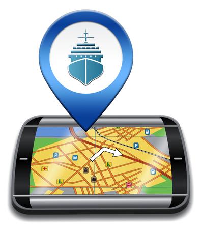 cruise liner: Port Location Representing Cruise Liner 3d Illustration