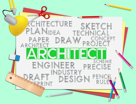 draftsman: Architect Words Meaning Architecture Draftsman And Hiring Stock Photo