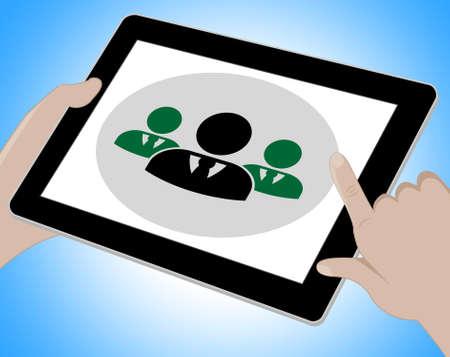 online conference: Online Conference Tablet Indicating Internet Seminar 3d Illustration Stock Photo