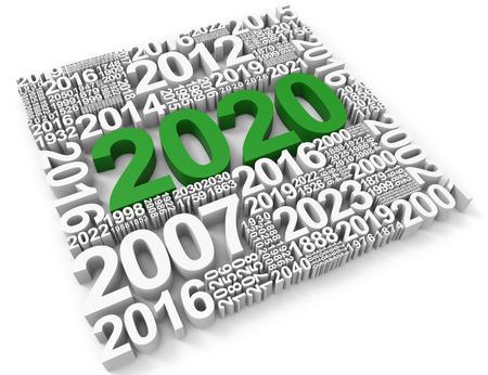 twenty: Two Thousand Twenty Showing 2020 Celebration 3d Rendering