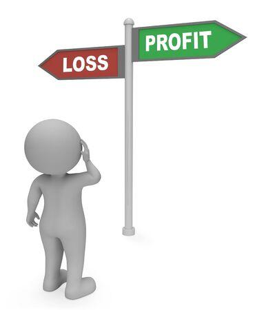 perdidas y ganancias: Se�al Profit p�rdida Mostrando obtener beneficios representaci�n 3d