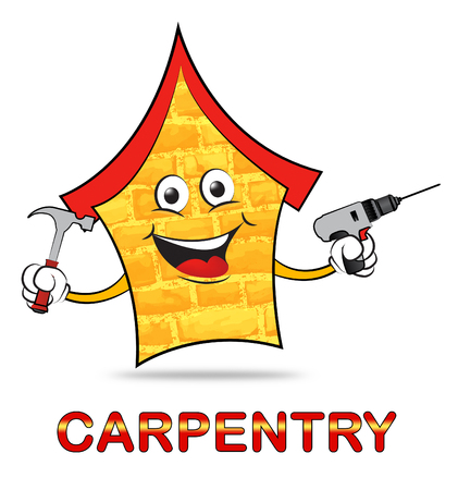 Carpentry Icon And Word Means Handyman Joiner Or Woodworking