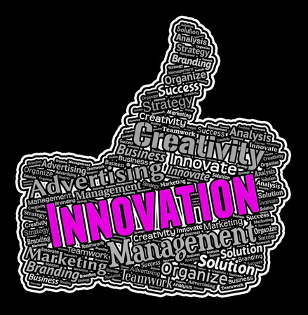 reorganization: Innovation Words On Thumbs Up Shows Reorganization And Ideas