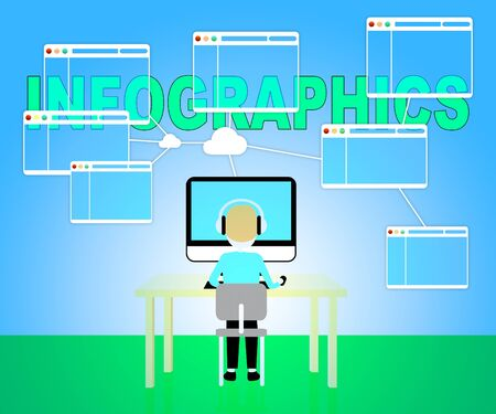 Man Typing Computer Infographics Indicates Visual Illustration And Graphic