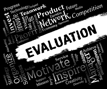 estimation: Evaluation Words Representing Appraisal Estimation And Evaluating Stock Photo