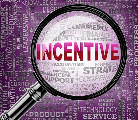 incentives: Incentive Word On Magnifier Means Reward Inducement 3d Rendering Stock Photo