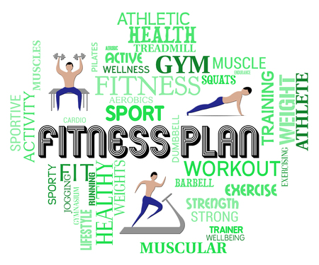get a workout: Fitness Plan Words Representing Workout And Exercise Regimen Stock Photo