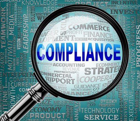 complied: Compliance Magnifier Meaning Regulation Agreement 3d Rendering
