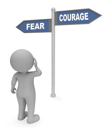 braveness: Character Looking At Fear Courage Sign Indicates Terror Or Bravery 3d Rendering Stock Photo