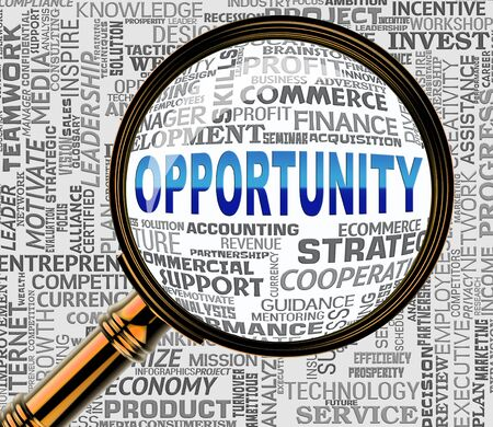possibilities: Opportunity Magnifier Meaning Commerce Possibilities 3d Rendering Stock Photo