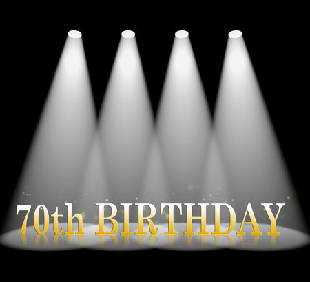 seventieth: Seventieth Birthday Word In Spotlights Indicates 70th Celebration And Party