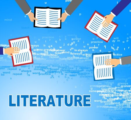 Literature Word And Books Means Literary Texts And Writings Stock Photo