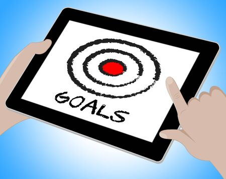 intent: Goals Word On Tablet Shows Desire Objectives 3d Illustration