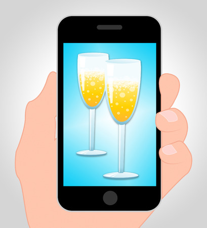 sparkling wine: Sparkling Wine Mobile Phone Online Means Party Celebration