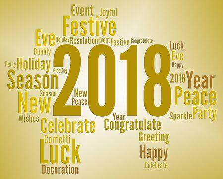 eighteen: Twenty Eighteen Showing 2018 Year And Celebrations Stock Photo