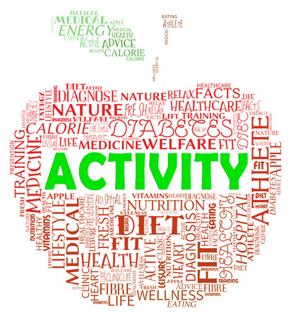 active arrow: Activity Apple Words Indicate Getting Fit And Being Active Stock Photo
