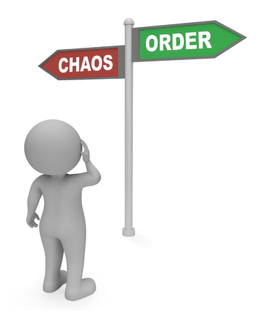 chaos order: Character Looking At Chaos Order Signpost Shows Confusion And Mayhem 3d Rendering Stock Photo