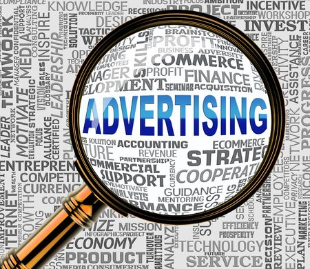 represents: Advertising Word Magnifier Represents Marketing Ads 3d Rendering