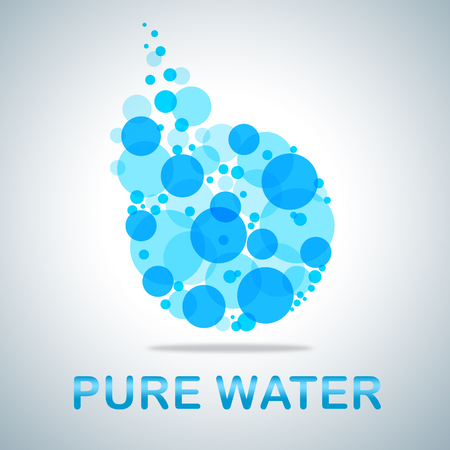 unaffected: Pure Water Word And Symbol Indicates Fresh And Clean H2o