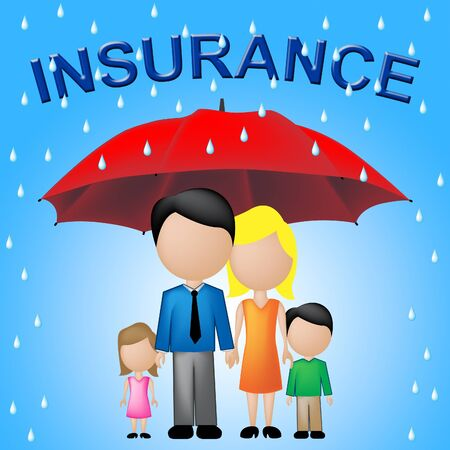 household insurance: Family Insurance Showing Household Policy And Cover Stock Photo
