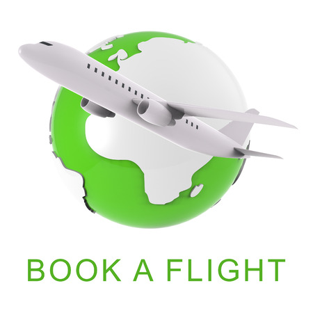 booked: Book A Flight Globe And Aircraft Shows Trip Booking 3d Rendering