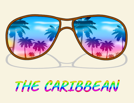 caribe: Caribbean Holiday Sunglasses Represents Tropical Vacation Or Getaway