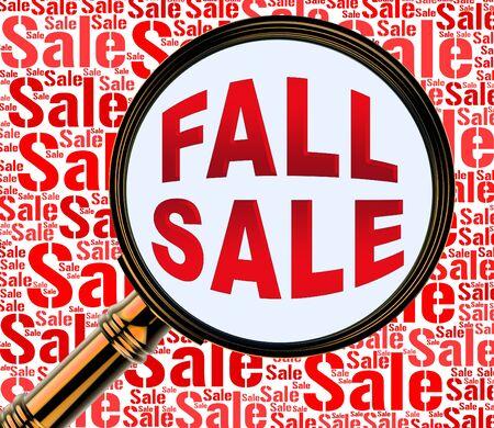 represents: Fall Sale Magnifier Represents Autumn Commerce Sales 3d Rendering