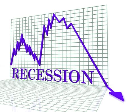 economic depression: Recession Graph Negative Meaning Economic Depression 3d Rendering