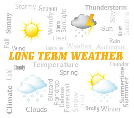 long term: Long Term Weather Showing Meteorological Conditions Forecast Stock Photo
