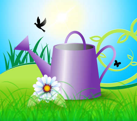 Watering Can Indicating Horticulture Flowers And Gardening