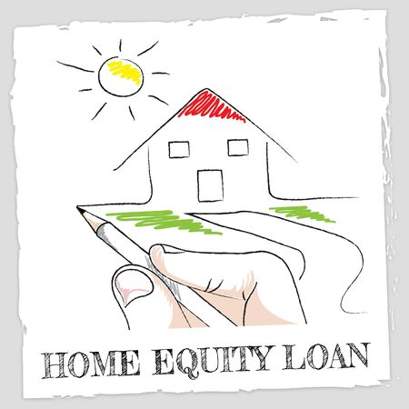 loaning: Home Equity Loan Words And House Indicates Second Mortgage On Property