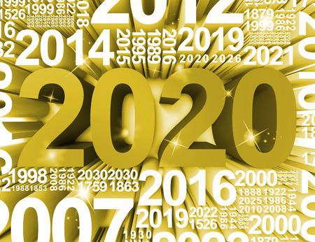 twenty two: Two Thousand Twenty Showing 2020 Celebrations 3d Rendering
