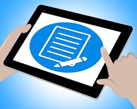 scribe: Notes Icon On Tablet Indicates Tasks List 3d Illustration Stock Photo