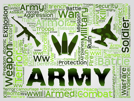 armed services: Army Words And Symbols Show Defense Forces And Fighting
