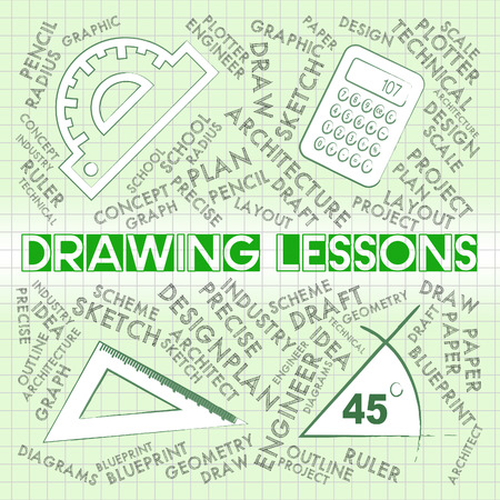 lessons: Drawing Lessons Showing Sketching And Creativity Class Stock Photo