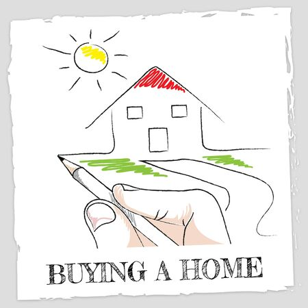 buying a home: Buying A Home Representing Property Apartment And Bungalow Stock Photo