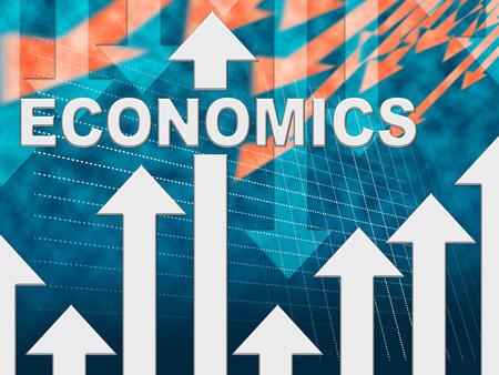 monetary: Economics Graph Arrows Represents Monetary Diagram Or Chart Stock Photo
