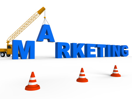 emarketing: Marketing Crane Lifting Words Shows Sem And Seo 3d Rendering