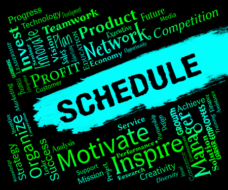 scheduled: Schedule Words Representing Calendar Itinery And Timetable Stock Photo