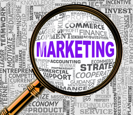 emarketing: Marketing Magnifier Meaning Seo Promotion 3d Rendering