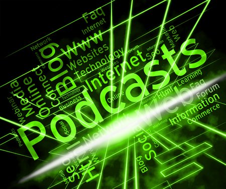 Podcast Word Indicating Broadcast Webcasts And Live Streaming