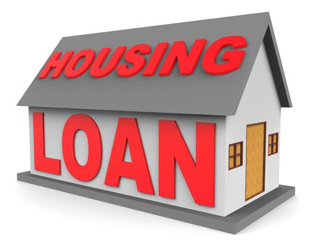 loaning: Housing Loan Word On House Represents Real Estate Mortgage 3d Rendering