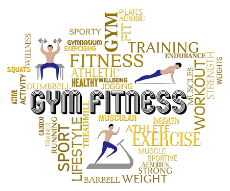 get a workout: Gym Fitness Showing Working Out And Exercising Stock Photo