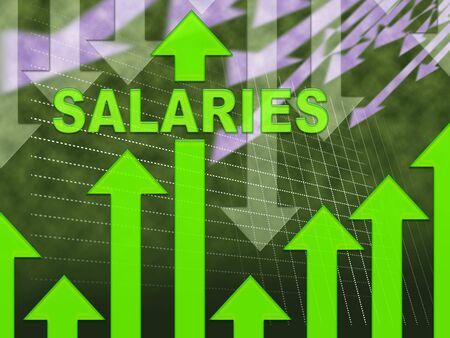 remuneraci�n: Salarios Palabra En Gr�fico Indica pron�stico de ganancias y n�minas