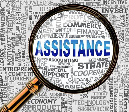 represents: Assistance Word Magnifier Represents Assisting Customers 3d Rendering